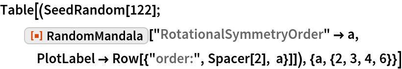 "Table[(SeedRandom[122]; ResourceFunction[""RandomMandala""][""RotationalSymmetryOrder"" -> a, PlotLabel -> Row[{""order:"", Spacer[2], a}]]), {a, {2, 3, 4, 6}}]"
