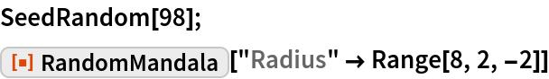 "SeedRandom[98]; ResourceFunction[""RandomMandala""][""Radius"" -> Range[8, 2, -2]]"