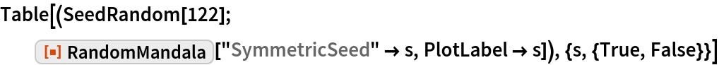 """Table[(SeedRandom[122]; ResourceFunction[""""RandomMandala""""][""""SymmetricSeed"""" -> s, PlotLabel -> s]), {s, {True, False}}]"""