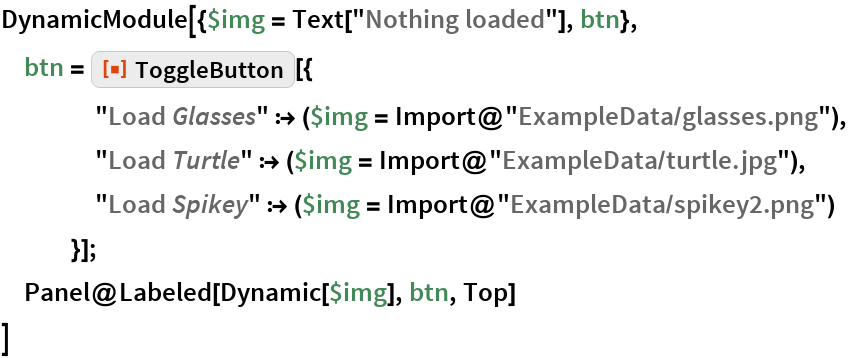 "DynamicModule[{$img = Text[""Nothing loaded""], btn},  btn = ResourceFunction[""ToggleButton""][{     ""Load \!\(\* StyleBox[\""Glasses\"",\nFontSlant->\""Italic\""]\)"" :> ($img = Import@""ExampleData/glasses.png""),     ""Load \!\(\* StyleBox[\""Turtle\"",\nFontSlant->\""Italic\""]\)"" :> ($img = Import@""ExampleData/turtle.jpg""),     ""Load \!\(\* StyleBox[\""Spikey\"",\nFontSlant->\""Italic\""]\)"" :> ($img = Import@""ExampleData/spikey2.png"")     }];  Panel@Labeled[Dynamic[$img], btn, Top]  ]"