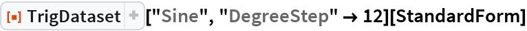 """ResourceFunction[""""TrigDataset""""][""""Sine"""", """"DegreeStep"""" -> 12][StandardForm]"""
