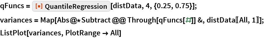 "qFuncs = ResourceFunction[""QuantileRegression""][distData, 4, {0.25, 0.75}]; variances = Map[Abs@*Subtract @@ Through[qFuncs[#]] &, distData[[All, 1]]]; ListPlot[variances, PlotRange -> All]"