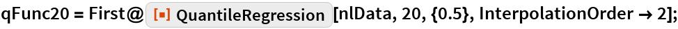 "qFunc20 = First@ResourceFunction[""QuantileRegression""][nlData, 20, {0.5}, InterpolationOrder -> 2];"