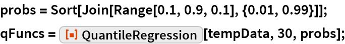 "probs = Sort[Join[Range[0.1, 0.9, 0.1], {0.01, 0.99}]]; qFuncs = ResourceFunction[""QuantileRegression""][tempData, 30, probs];"