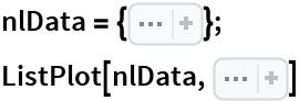 "nlData = { Sequence[{0, 2.52}, {1., 2.83}, {2., 3}, {3., 3.2}, {4.1, 3.35}, {5., 3.47}, {6, 3.57}, {7, 3.66}, {8, 3.76}, {8.5, 3.81}, {9, 3.85}, {     9.5, 3.89}, {10.1, 3.94}, {10.5, 3.98}, {11, 4.01}, {11.5, 4.06}, {12, 4.09}, {12.5, 4.15}, {13, 4.19}, {13.5, 4.25}, {     14, 4.3}, {14.5, 4.35}, {15, 4.41}, {15.6, 4.47}, {16, 4.53}, {     16.5, 4.6}, {17., 4.68}, {17.5, 4.77}, {18, 4.85}, {18.5, 4.96}, {     19, 5.11}, {19.55, 5.34}, {19.7, 5.44}, {19.9, 5.58}, {20.1, 5.91}, {20.3, 6.27}, {20.5, 7.14}, {20.6, 7.14}, {20.8, 7.81}, {     20.9, 8.32}, {21, 7.75}, {21.2, 9.07}, {21.4, 9.49}, {21.5, 9.71}, {21.6, 9.83}, {21.8, 10}, {22, 10.18}, {22.1, 10.21}, {     22.2, 10.25}, {22.3, 10.27}, {22.5, 10.3}, {22.7, 10.42}, {22.9, 10.47}, {23.1, 10.52}, {23.3, 10.59}, {23.5, 10.63}, {23.7, 10.67}, {24, 10.74}, {24.2, 10.78}, {24.4, 10.8}, {24.6, 10.82}, {     24.8, 10.84}, {25, 10.87}]}; ListPlot[nlData, Sequence[PlotTheme -> ""Detailed"", PlotStyle -> Red]]"