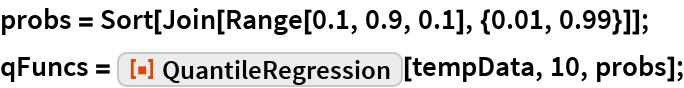 "probs = Sort[Join[Range[0.1, 0.9, 0.1], {0.01, 0.99}]]; qFuncs = ResourceFunction[""QuantileRegression""][tempData, 10, probs];"