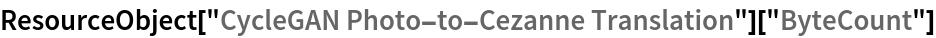 """ResourceObject[""""CycleGAN Photo-to-Cezanne Translation""""][""""ByteCount""""]"""