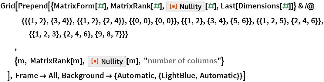 "Grid[Prepend[{MatrixForm[#], MatrixRank[#], ResourceFunction[""Nullity""][#], Last[Dimensions[#]]} & /@ {{{1, 2}, {3, 4}}, {{1, 2}, {2, 4}}, {{0, 0}, {0, 0}}, {{1, 2}, {3, 4}, {5, 6}}, {{1, 2, 5}, {2,        4, 6}}, {{1, 2, 3}, {2, 4, 6}, {9, 8, 7}}}   ,   {m, MatrixRank[m], ResourceFunction[""Nullity""][m], ""number of columns""}   ], Frame -> All, Background -> {Automatic, {LightBlue, Automatic}}]"