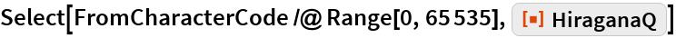 "Select[FromCharacterCode /@ Range[0, 65535], ResourceFunction[  ""HiraganaQ""]]"