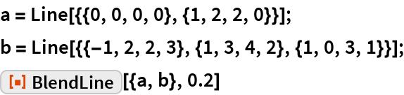 "a = Line[{{0, 0, 0, 0}, {1, 2, 2, 0}}]; b = Line[{{-1, 2, 2, 3}, {1, 3, 4, 2}, {1, 0, 3, 1}}]; ResourceFunction[""BlendLine""][{a, b}, 0.2]"