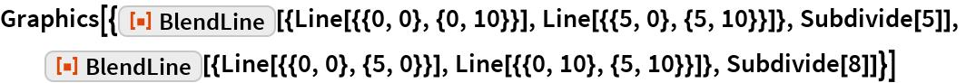 "Graphics[{ResourceFunction[    ""BlendLine""][{Line[{{0, 0}, {0, 10}}], Line[{{5, 0}, {5, 10}}]}, Subdivide[5]],   ResourceFunction[    ""BlendLine""][{Line[{{0, 0}, {5, 0}}], Line[{{0, 10}, {5, 10}}]}, Subdivide[8]]}]"