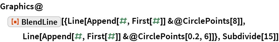 "Graphics@ResourceFunction[   ""BlendLine""][{Line[Append[#, First[#]] &@CirclePoints[8]], Line[Append[#, First[#]] &@CirclePoints[0.2, 6]]}, Subdivide[15]]"