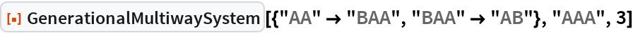 """ResourceFunction[  """"GenerationalMultiwaySystem""""][{""""AA"""" -> """"BAA"""", """"BAA"""" -> """"AB""""}, """"AAA"""",   3]"""