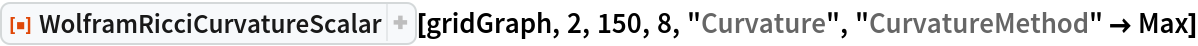 "ResourceFunction[  ""WolframRicciCurvatureScalar""][gridGraph, 2, 150, 8, ""Curvature"", ""CurvatureMethod"" -> Max]"