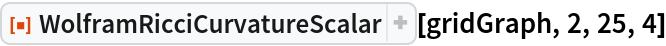 "ResourceFunction[""WolframRicciCurvatureScalar""][gridGraph, 2, 25, 4]"