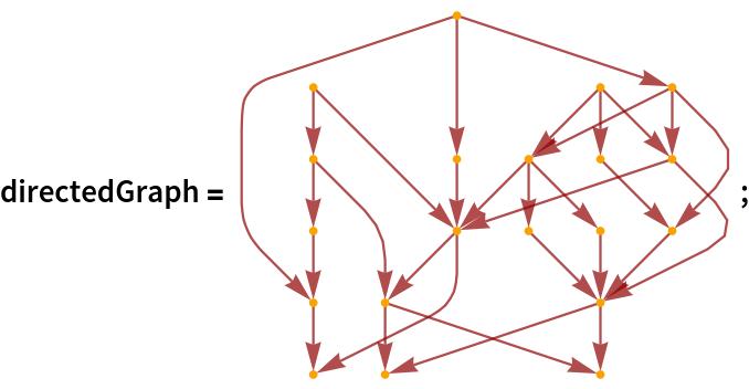 "directedGraph = \!\(\* GraphicsBox[ NamespaceBox[""NetworkGraphics"", DynamicModuleBox[{Typeset`graph = HoldComplete[ Graph[CompressedData["" 1:eJwBUQGu/iFib1JlAgAAABQAAAACAAAAYA7mmYAq3T8IxMSUWUrvP5TMvnnQ Lu4/LPamrnjK7j9QXnoCq1nTPzg1VJeN3t0/gKRhpA6Prz+MxpBJZq7YP6jd 7/Z4gts/NlJMenjr6D8g1/Po3OCoP0D+PCTDGuQ/FFsxworK0T+wlLzYgBi3 P4zmzJ7/DOw/kJ1Jc3Huuz9gxKG6LALRP3RBVtc/Ze0/CEUth86/xT8AmE9j +X25P9iRiKm5F94/0CMkyq3O2T90KAweOhfvP1wVFVHLJ9Q/6BGcj40ZwD94 UfWCtWzRP0JdY8FIYuM/GsVMrRV/5T9os9Hh/gbPP8CLTPixed8/mOCTVqED 4j/EeX89A5PhP6gzJK2w0t4//qPE3b2d5D+4SkeOJ7naP2bh/wlxi+Y/vJjb NDrD7j/UanOC/evsP+CtTggX2+s/aPfhhZE25D/MNKin ""], { SparseArray[           Automatic, {20, 20}, 0, {            1, {{0, 3, 5, 6, 7, 10, 11, 11, 11, 14, 14, 16, 17, 19, 20,               21, 23, 25, 28, 30, 31}, {{5}, {12}, {14}, {16}, {19}, {              13}, {13}, {4}, {17}, {18}, {4}, {6}, {17}, {18}, {7}, {              10}, {8}, {7}, {10}, {16}, {13}, {8}, {11}, {13}, {16}, {              3}, {15}, {16}, {11}, {20}, {12}}}, Pattern}], Null}, {          EdgeStyle -> { Hue[0, 1, 0.56]}, VertexStyle -> { Directive[ Hue[0.11, 1, 0.97],  EdgeForm[{ Hue[0.11, 1, 0.97],  Opacity[1]}]]}}]]},  TagBox[GraphicsGroupBox[GraphicsComplexBox[CompressedData["" 1:eJx1lg9YTOkex2em+adppj9T4ZLIpa2UFpVcvK9N6Fnh6Q+yl6ehWhtLLN0N Udom8l9ZlM2VNnFx++OixHtWi8rfohRl8y+SmD/NaKZpus055z3z7Dz290zP 22fO+877nt/3+z3PGbV8bVgsh8VivR74M41/LkdI/0NQgx3NCkB/T7MQfp7t /uJ7BbLYiLDgv1iPC69nzkF8/lwMsz5/TsvftTwnc15gsZ74PDPrabazYKEF W+7P9Bf9eT7zOxbz8bks+8T0F0rflH1xZX4VOrwx61LKHSkcfHUhjN3bgGxb ivYK90hhhE9v6u3m52jlRJh+eIYUjvju2Npy0Tt0fHNUrvc7B5iYkTFp63kl unih+0Gt3AG27PMIqG3XovPP7MeuHewAfw+9gIjzBiTXFef87Zg9/LlN+sY3 jU1M49X73HW0hyLNjJJGLZd4xN74Qp5qBzn5nuGqozxiiS1HGiKzg9YFZzNa PfjElcmt70dOsYNuvbfmHSnkE7pkfoLExg6GnNpS5GYnIEZd6508+rwtTC2q zd4SJyCEl+WvIvxtYY2xRFp4WkAUdpx7UVIsgSPPTBhzvFlAGMLWTZziIoE7 zsyt+VYrIKy7HzR2bRYz/Z9Ilgj2kyUg6tyT692TrZnr64ffWjf81iDIpllq b6pBzPVi3jcDH7OeC/QF8/UFAoY/fjAVn+G9LycPfMzs07Tdu2k7j+FJ5Hms 4MFIJ9DcIyCWPfQcMyKFA+ctjDTEvBQQubXJlZp6Nh"