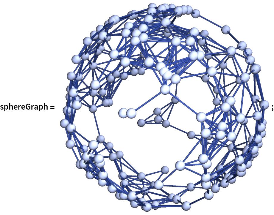 "sphereGraph = \!\(\* Graphics3DBox[ NamespaceBox[""NetworkGraphics"", DynamicModuleBox[{Typeset`graph = HoldComplete[ Graph[CompressedData["" 1:eJw1l2k0FIwbxS3tpWghW6nskUqFwvOibFmKLGmTlBbakEiRlL1SVIpsvXbJ moQHYcgSY5+xzBgzZp9XISr5+/L/cD8/59xzz31+d4vbNbvzIkJCQk0LEl2Q 2/6CC1se8fCZ616/d2Z9eOS3WmgfIBL/lfV3d8vH4AJrw1hRAWyZvtJlsK4d aloYYZWa56BJsSvjlxcdCp+YRdM/jQOrVrTR0xXhzchd8ZOfRzDAf0ps2J8D Jeciy/MPU/GQiZ+sxq1xvNL9c0OxKQmpFi4RTfY83Kr5PHAqlwgBRy5W1F7p hMb4DA0N6jtUWLMSFWk8dLcJTtkc0IsOHyRJUs9ZuH5JuuIS/3Kc3GKbN8kZ hdNEUeouEw7uP+bqPnS/C/44Dt/XEyVjgOt8SYEcBRb/0vzhJTyMQ7vNv1N3 jmNeoI+fjVMmirm88OZyiWhfZPGCFcgH1eWW4U8f0UHq11KzqDIqqsr4JCyz GwH9/yjKl5+NYvDZo/oV8mW4XuuDtdEoC3NL55YUelXi90SVxZM8AgZ1xHmv 3COAfQS9h3+UeuGBdh1aRNNQtAID26sYoDzpqbk3rA63N+c+a17NRz/ZV3uO 1nThnPwmqsP8KP49wtsW/5QExpbiVcJLGbA1Kq9M53snDMtlXFh+gIKa6urF psvY4My4sOtVNhkfh5UaChPGoCIlqfTadxpOV6gbHj9PwHs6A25K62j4IjVV 4DfLRJlQAt5o42Fj4lCGokQnJHibZvE9voHHJd2Rzo1svJ8Q0j4lPYounysI lreqsNO5JWZFQCEU1MikrhHioWg7W60ilIRxn9dKCnHG0NPYb9G97UzoJkQ8 8mqMh2RTuw/Zd7rQP3RZwhe1HjBPbFXcGMuFY8Rrk8kRNLzlPl+1xaYMWN8a Vu3eyoJAVp1xBIyDWKQVLzWrH/YdLGWH7xmF2LL8fz4H08BnR/7pWM82rNMv aVQDJtx/7nBOx2kYN4Ve26B4hYVOgsc6AdAPrcGJ49ffC3Ctc3nprGQNSj0v V3uP79FIZlBPRY8HJzYExB7oqkThIcPsbdR+tNRLfFwry4UCBjc31LYJfrsm 0KUZZFyh7XZbI5yPKjvjdj21K4BlffV/1KKJcGZsRWZHAB30U3hf2rPpEHtE od5QQISBOq9GaX8u+i2+c/6QDwmqJqrLW7cTcMXVdExbS4NNvCiLKTEG0N6Y 9ejtJGFWFt2FmFEP3uY1wh2hw6h008w9KYmDWlcsa4jLm4FkPN1TjKMwkNqn ZrqZhfa2/+whu7fD7QYdlbKXX/EhP+g/Myc+HHCb0ZDoZUJJn8pjoeVjOP17 NL9uOAdi/XUtA2vG8Y54IM/xbD8Gvfc7sPsJFSUCSzmSzjzcVV1/aoxTAkpF YOBX2o9W1CSrllQWlHhanmxU7EF2aQ1HvmMElnw2CokdFSC76MKXTOprdMy8 5XnLoxAiS73jPbQGkHN3RcnsBBuWJG8VBIT0QeKc3b/K5xDS5f19Gf40ZLjX eISLsTAkRemP0OsPOLn9qcyqyx9xW5eu2FCjAKXNvpZeXci94weP6ISvnag0 naSWb9eMD0ey3oQU8NEzcwQOSXegevaqzvxURHP1ZOJMehzcimjQUPAZQ+P/ PtYejmLioFh87r82AhyWVs+Zs63FFTUaFR8yvyDlKKlDeCGHrsbz3sfyaDBg w2K2GYxjcSfzSckWDv5ZovV91XoyNh2yTRgz6cZ1ylUhOh+ZoDnJOJbKoiGn mf5tkXcV/mt2xe34Xj7IDPifYienoZOsogVlqBuvmlO3zb9iwJR3v52huw8O vxo8X5jCwKIoxdrdE2PwZjpwOvAzA"
