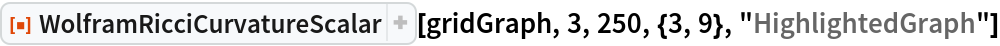 "ResourceFunction[  ""WolframRicciCurvatureScalar""][gridGraph, 3, 250, {3, 9}, ""HighlightedGraph""]"