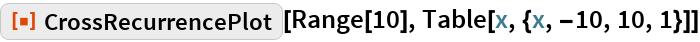 "ResourceFunction[""CrossRecurrencePlot""][Range[10], Table[x, {x, -10, 10, 1}]]"