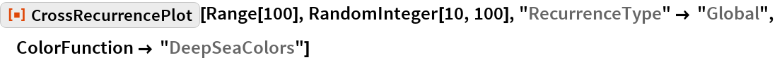 "ResourceFunction[""CrossRecurrencePlot""][Range[100], RandomInteger[10, 100], ""RecurrenceType"" -> ""Global"", ColorFunction -> ""DeepSeaColors""]"