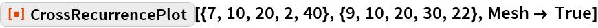 "ResourceFunction[  ""CrossRecurrencePlot""][{7, 10, 20, 2, 40}, {9, 10, 20, 30, 22}, Mesh -> True]"