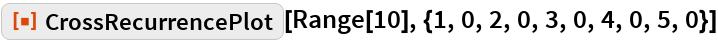 "ResourceFunction[""CrossRecurrencePlot""][  Range[10], {1, 0, 2, 0, 3, 0, 4, 0, 5, 0}]"