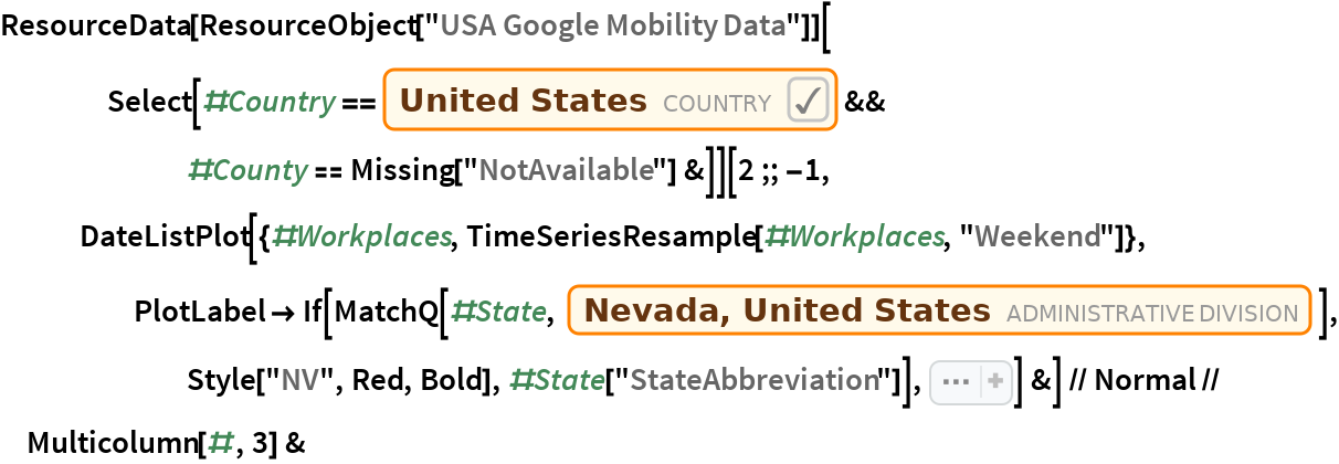 "ResourceData[ ResourceObject[""USA Google Mobility Data""]][Select[#Country == \!\(\* NamespaceBox[""LinguisticAssistant"", DynamicModuleBox[{Typeset`query$$ = ""usa"", Typeset`boxes$$ = TemplateBox[{""\""United States\"""",  RowBox[{""Entity"", ""["",  RowBox[{""\""Country\"""", "","", ""\""UnitedStates\""""}], ""]""}], ""\""Entity[\\\""Country\\\"", \\\""UnitedStates\\\""]\"""", ""\""country\""""}, ""Entity""], Typeset`allassumptions$$ = {}, Typeset`assumptions$$ = {},              Typeset`open$$ = {1, 2}, Typeset`querystate$$ = {             ""Online"" -> True, ""Allowed"" -> True, ""mparse.jsp"" -> 0.706154`6.300444417007905, ""Messages"" -> {}}},  DynamicBox[ToBoxes[ AlphaIntegration`LinguisticAssistantBoxes["""", 4, Automatic,  Dynamic[Typeset`query$$],  Dynamic[Typeset`boxes$$],  Dynamic[Typeset`allassumptions$$],  Dynamic[Typeset`assumptions$$],  Dynamic[Typeset`open$$],  Dynamic[Typeset`querystate$$]], StandardForm], ImageSizeCache->{184., {7., 17.}}, TrackedSymbols:>{               Typeset`query$$, Typeset`boxes$$, Typeset`allassumptions$$, Typeset`assumptions$$, Typeset`open$$, Typeset`querystate$$}], DynamicModuleValues:>{}, UndoTrackedVariables:>{Typeset`open$$}], BaseStyle->{""Deploy""}, DeleteWithContents->True, Editable->False, SelectWithContents->True]\) && #County == Missing[""NotAvailable""] &]][    2 ;; -1, DateListPlot[{#Workplaces, TimeSeriesResample[#Workplaces, ""Weekend""]}, PlotLabel -> If[MatchQ[#State, Entity[""AdministrativeDivision"", {""Nevada"", ""UnitedStates""}]],         Style[""NV"", Red, Bold], #State[""StateAbbreviation""]], Sequence[      Joined -> {True, False}, Filling -> {1 -> Axis, 2 -> {Axis,  Directive[ Opacity[0.3], Red, Thick]}}, AspectRatio -> 1/4, FrameTicks -> None, Axes -> {True, None}, ImageSize -> 200, PlotRange -> {{""Feb 29, 2020"", ""June 16, 2020""}, {-80, 80}}, PlotStyle -> {Automatic, None}]] &] // Normal // Multicolumn[#, 3] &"