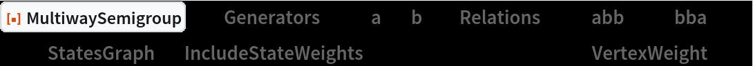 "ResourceFunction[  ""MultiwaySemigroup""][<|""Generators"" -> {""a"", ""b""}, ""Relations"" -> {""abb"" <-> ""bba""}|>, 3, ""StatesGraph"", ""IncludeStateWeights"" -> True, VertexLabels -> ""VertexWeight""]"