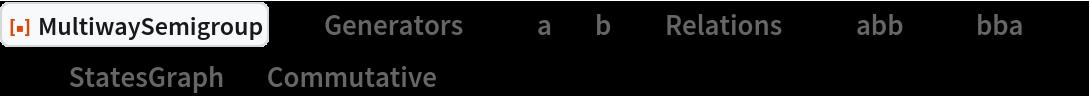 "ResourceFunction[  ""MultiwaySemigroup""][<|""Generators"" -> {""a"", ""b""}, ""Relations"" -> {""abb"" <-> ""bba""}|>, 3, ""StatesGraph"", ""Commutative"" -> False]"