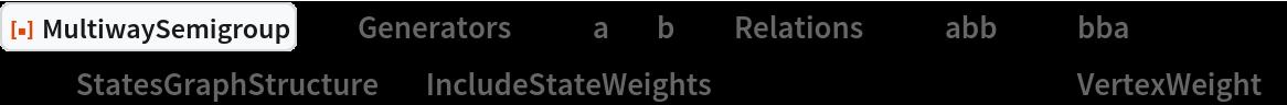 "ResourceFunction[  ""MultiwaySemigroup""][<|""Generators"" -> {""a"", ""b""}, ""Relations"" -> {""abb"" <-> ""bba""}|>, 3, ""StatesGraphStructure"", ""IncludeStateWeights"" -> True, VertexLabels -> ""VertexWeight""]"