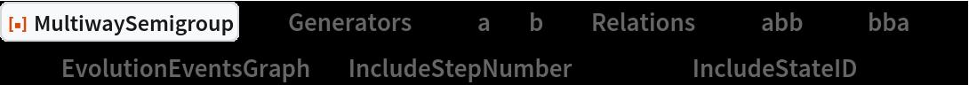 "ResourceFunction[  ""MultiwaySemigroup""][<|""Generators"" -> {""a"", ""b""}, ""Relations"" -> {""abb"" <-> ""bba""}|>, 3, ""EvolutionEventsGraph"", ""IncludeStepNumber"" -> True, ""IncludeStateID"" -> True]"