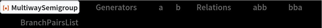 "ResourceFunction[  ""MultiwaySemigroup""][<|""Generators"" -> {""a"", ""b""}, ""Relations"" -> {""abb"" <-> ""bba""}|>, 3, ""BranchPairsList""]"