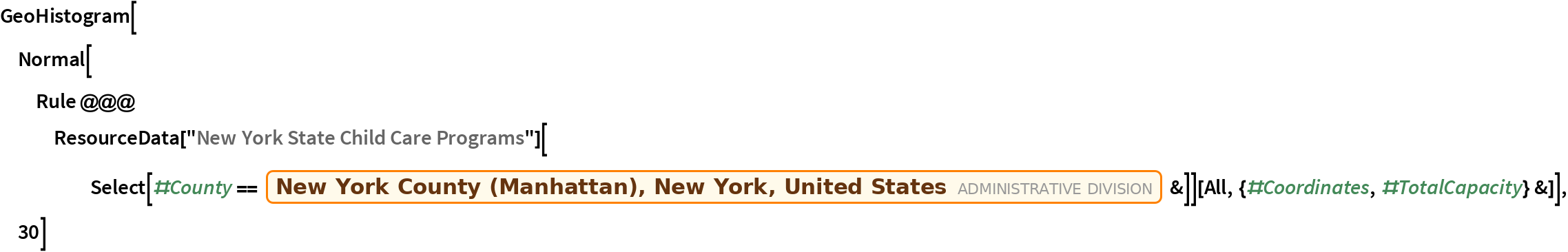 """GeoHistogram[  Normal[Rule @@@ ResourceData[""""New York State Child Care Programs""""][      Select[#County == Entity[""""AdministrativeDivision"""", {""""NewYorkCounty"""", """"NewYork"""", """"UnitedStates""""}] &]][     All, {#Coordinates, #TotalCapacity} &]], 30]"""