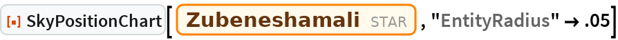 "ResourceFunction[""SkyPositionChart""][Entity[""Star"", ""Zubeneshamali""], ""EntityRadius"" -> .05]"