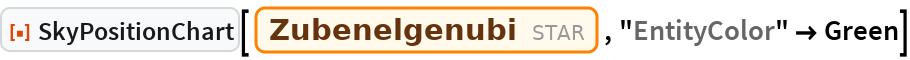 "ResourceFunction[""SkyPositionChart""][Entity[""Star"", ""Zubenelgenubi""], ""EntityColor"" -> Green]"