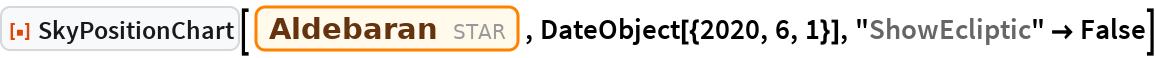 "ResourceFunction[""SkyPositionChart""][Entity[""Star"", ""Aldebaran""], DateObject[{2020, 6, 1}], ""ShowEcliptic"" -> False]"