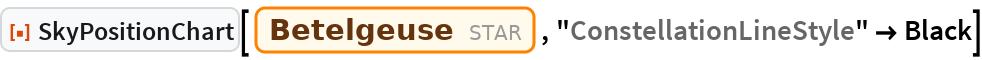 "ResourceFunction[""SkyPositionChart""][Entity[""Star"", ""Betelgeuse""], ""ConstellationLineStyle"" -> Black]"