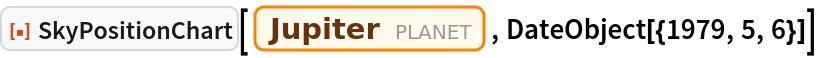 "ResourceFunction[""SkyPositionChart""][Entity[""Planet"", ""Jupiter""], DateObject[{1979, 5, 6}]]"