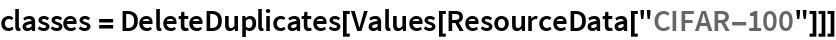 """classes = DeleteDuplicates[Values[ResourceData[""""CIFAR-100""""]]]"""