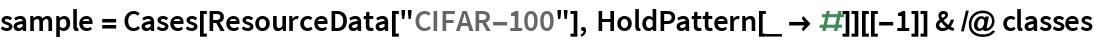 "sample = Cases[ResourceData[""CIFAR-100""], HoldPattern[_ -> #]][[-1]] & /@ classes"