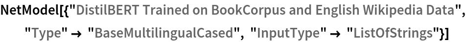 "NetModel[{""DistilBERT Trained on BookCorpus and English Wikipedia \ Data"", ""Type"" -> ""BaseMultilingualCased"", ""InputType"" -> ""ListOfStrings""}]"