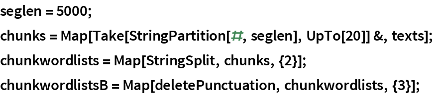 seglen = 5000; chunks = Map[Take[StringPartition[#, seglen], UpTo[20]] &, texts]; chunkwordlists = Map[StringSplit, chunks, {2}]; chunkwordlistsB = Map[deletePunctuation, chunkwordlists, {3}];