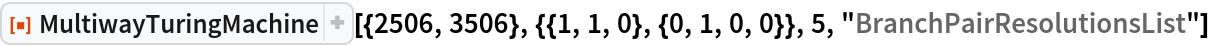"""ResourceFunction[  """"MultiwayTuringMachine""""][{2506, 3506}, {{1, 1, 0}, {0, 1, 0, 0}}, 5, """"BranchPairResolutionsList""""]"""