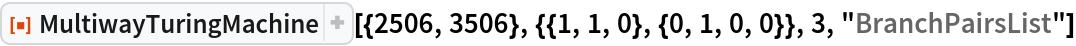 """ResourceFunction[  """"MultiwayTuringMachine""""][{2506, 3506}, {{1, 1, 0}, {0, 1, 0, 0}}, 3, """"BranchPairsList""""]"""