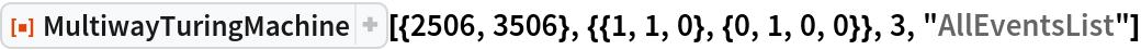 """ResourceFunction[  """"MultiwayTuringMachine""""][{2506, 3506}, {{1, 1, 0}, {0, 1, 0, 0}}, 3, """"AllEventsList""""]"""