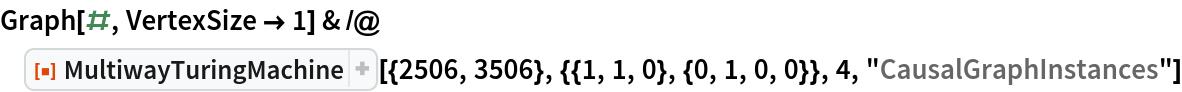 """Graph[#, VertexSize -> 1] & /@ ResourceFunction[   """"MultiwayTuringMachine""""][{2506, 3506}, {{1, 1, 0}, {0, 1, 0, 0}}, 4,    """"CausalGraphInstances""""]"""