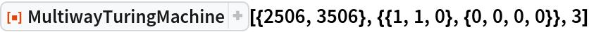 "ResourceFunction[  ""MultiwayTuringMachine""][{2506, 3506}, {{1, 1, 0}, {0, 0, 0, 0}}, 3]"