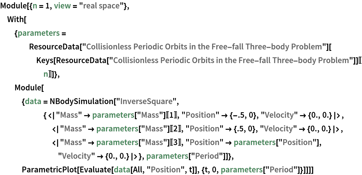 """Module[{n = 1, view = """"real space""""}, With[{parameters = ResourceData[       """"Collisionless Periodic Orbits in the Free-fall Three-body Problem""""][      Keys[ResourceData[         """"Collisionless Periodic Orbits in the Free-fall Three-body Problem""""]][[n]]]}, Module[{data = NBodySimulation[       """"InverseSquare"""", {<