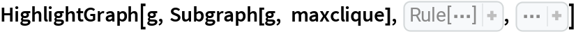 "HighlightGraph[g, Subgraph[g, maxclique], VertexCoordinates -> ReplacePart[ GraphEmbedding[g, ""SpringElectricalEmbedding""],  Thread[Map[VertexIndex[g, #]& ,  First[maxclique]] -> CirclePoints[{3, 0.9}, 0.7,  Length[ First[maxclique]]]]], Sequence[  EdgeStyle -> {Blank[] -> Opacity[0.05]}, GraphLayout -> ""SpringElectricalEmbedding"", VertexSize -> {Blank[] -> 0.5}]]"