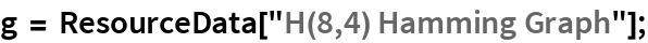 "g = ResourceData[""H(8,4) Hamming Graph""];"